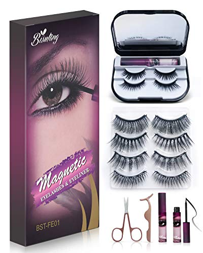 Bisutang 6-Pair Reusable Magnetic Lashes and 2 Tubes of Magnetic Eyeliner with Storage Case