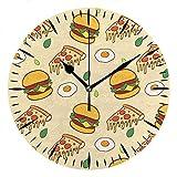 NIUMM Reloj De Pared De Vinilo Hamburguesa De Mesa Pizza Huevo Escalfado Comida Lindo Tablero De Espuma De PVC Creativo para Oficina Y Hogar