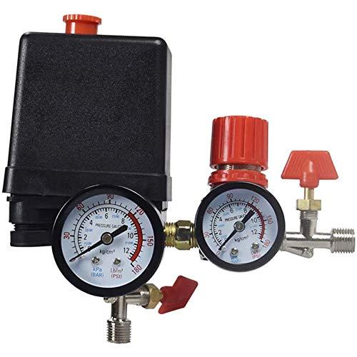 BOINN VáLvula de Control del Compresor de Aire Interruptor de PresióN 90-120PSI + Regulador de PresióN, VáLvula de Salida Cuadrada de 4 Orificios del Compresor de Aire