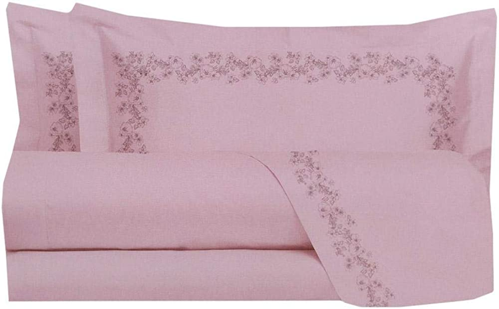 Laura biagiotti ,lenzuola per letto matrimoniale ,completo, in flanella pandia rosa