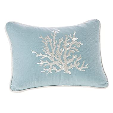 Harbor House Coastline Fashion Cotton Throw Pillow, acquard Oblong Decorative Pillow, 12X16, Blue