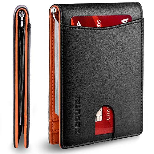 RUNBOX Minimalist Slim Wallet for Men with Money Clip RFID Blocking Front Pocket Leather Mens Wallets(orange&black)…