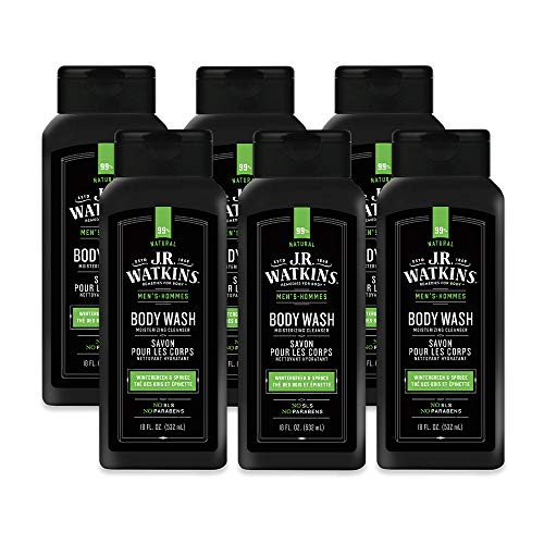 JR Watkins Natural Daily Moisturizing Body Wash, Wintergreen & Sprice, 6 Pack, Hydrating Shower Gel for Men and Women, Free of SLS, USA Made and Cruelty Free, 18 fl oz