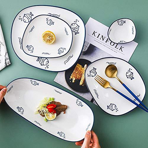 Viento nórdico plato de cerámica creativo japonés dibujado a mano vegetal red bandeja roja hogar vajilla occidental placa filete-tazón mediano