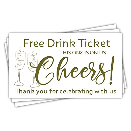 50 Free Drink Tickets - Cheers Champagne Glasses Design - Party Drink Tickets