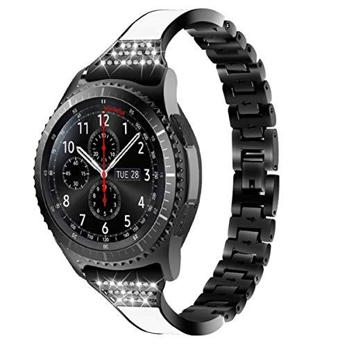 Pulseira UKCOCO compatível com Samsung S3 Galaxy – Pulseira de relógio de 46 mm Pulseira de metal de substituição para relógio feminina (prata), Preto, 18x2 cm