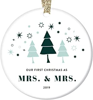 Mrs & Mrs 2019 Ornament First Christmas Married Holiday Lesbian Couple Wedding Gift Idea 2 Brides Wives 1st Year Anniversary Celebration Bridal Shower Present Whimsical Trees Ceramic 3