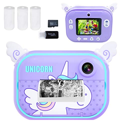 Instant Print Camera for Kids, Girls Boys Zero Ink Print Photo Selfie Video Digital Camera with Paper Film, 3-12 Years Old Children Mini Learning Toy Camera Gifts for Birthday Holiday Travel