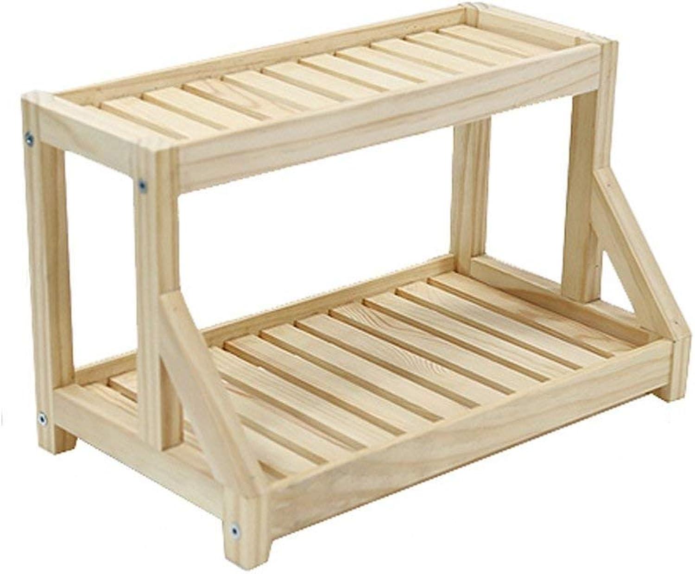 BXJ Desktop Mobile Wooden Multi-Storey Living Room Wood Flower Rack Bedroom Log Shelf Windowsill Shelf (color   Natural)