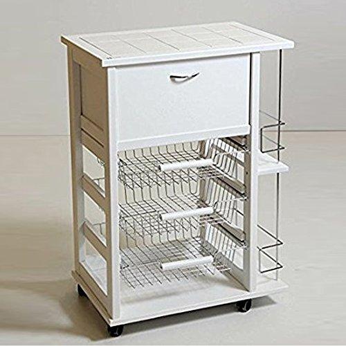 MASLEGNO Carrello in faggio portafrutta portapane portabottiglie h.85 cm 59x39 cm (Bianco)