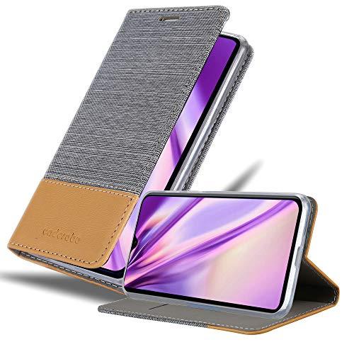 Cadorabo Hülle für Xiaomi Mi 9 SE in HELL GRAU BRAUN - Handyhülle mit Magnetverschluss, Standfunktion & Kartenfach - Hülle Cover Schutzhülle Etui Tasche Book Klapp Style