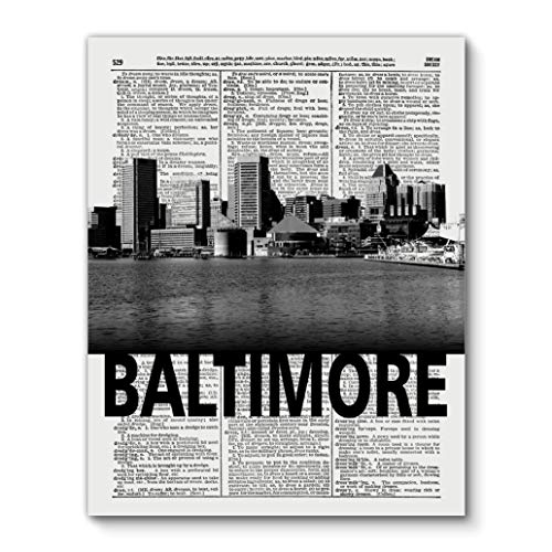 Baltimore Skyline With Bold City Name, Vintage Dictionary Art Print Reproduction Contemporary Wall Art For Home Decor, Modern Boho Art Print Poster, Country Farmhouse Wall Decor 11x14 Inches, Unframed