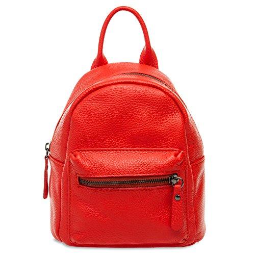 Caspar TL777 kleiner 2-in-1 Damen echt Leder City Rucksack, Farbe:rot, Größe:One Size