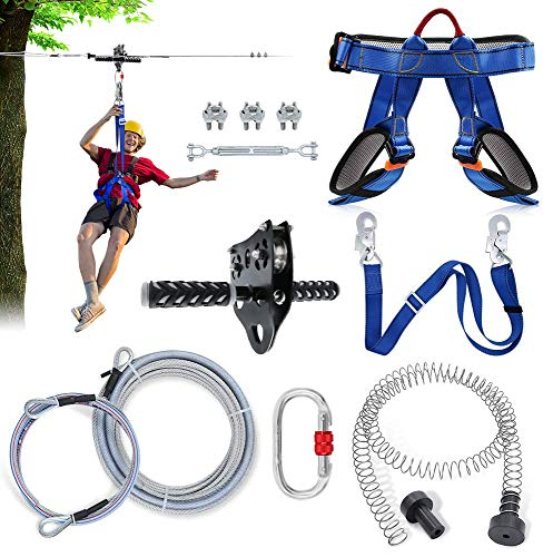98FT Zip Lines Kit for Backyard with Spring Brake, Adjustable Harness, Ziplines Trolley, Connection Lanyard and 304 Stainless Steel Cable, Zip Line for Kids and Adults, Up to 350 lb
