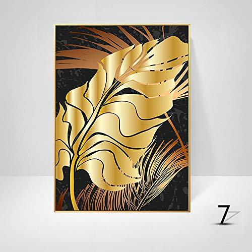 WSNDGWS Sofa achtergrond muurdecoratie schilderij licht eenvoudige plant gouden blad kunst schilderen kern zonder fotolijst 50x70cm G5