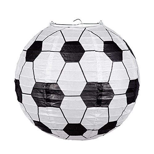 Boland 62504 - Papierlaterne Fußball mit Stahldraht RahmenGröße 25 cm, Lampion, Hängedekoration, WM, EM, Public Viewing, Garten Party, Mottoparty, Karneval