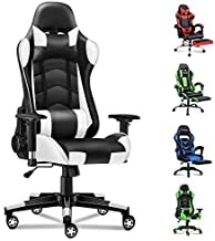 ALFORDSON Gaming Chair Racing Chair Executive Sport Office Chair PU Leather Armrest Headrest Home Chair (Regan White)