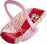 HABA 304108 - Puppen-Babyschale Blumenwiese, Babyschale mit schwenkbarem Griff und Gurt,...