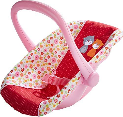 HABA 304108 - Puppen-Babyschale Blumenwiese, Babyschale mit schwenkbarem Griff und Gurt, Puppenzubehör für alle Puppen bis 38 cm, Spielzeug ab 18 Monaten
