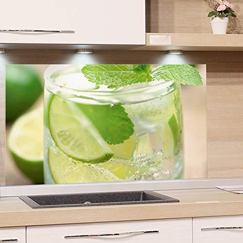 GRAZDesign Küchen-Spritzschutz Glas, Bild-Motiv Getränk, Glasbild als Küchenrückwand Glas Grün Cocktail - Küchenspiegel / 80x50cm