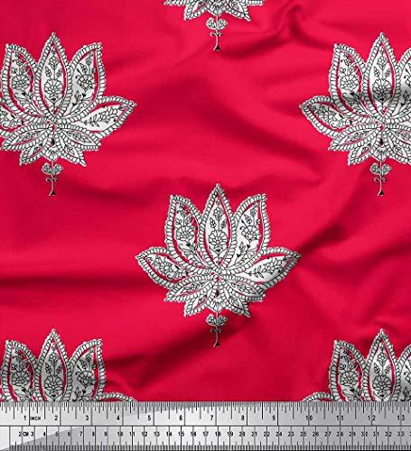 Soimoi Rojo gasa de algodon Tela Blumen- bloquear estampados de tela por metro 42 Pulgadas de ancho