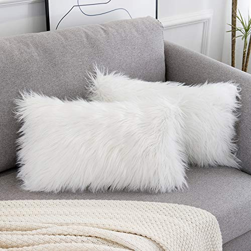WLNUI Set of 2 Decorative Lumbar White Fluffy Pillow Covers New Luxury Series Merino Style Faux Fur Throw Pillow Covers Fuzzy Cushion Case 12x20 Inch