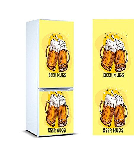 Oedim Vinilo para Frigorífico Jarras de Cerveza 185 x 60 cm   Adhesivo Resistente y de Fácil Aplicación   Pegatina Adhesiva Decorativa de Diseño Elegante