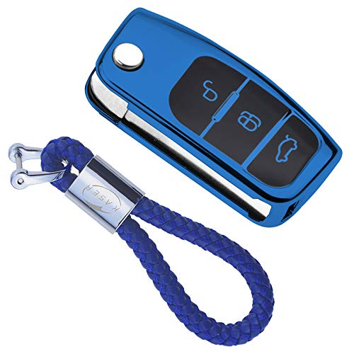 kaser Funda de Silicona para Llave Ford – Cover Mando Distancia Carcasa de TPU Cromo Suave para Ford Fiesta Focus Fusion Mondeo C-MAX Kuga Ecosport Protección con Llaveros (Azul)