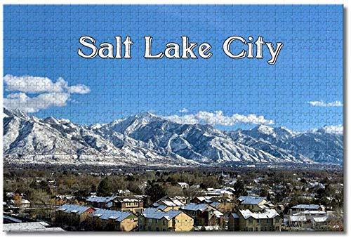 Nicoole.co Estados Unidos América Salt Lake City Utah Rompecabezas para adultos Niños 1000 piezas Juego de rompecabezas de madera para regalos Decoración del hogar Recuerdos especiales de viaje