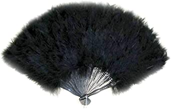 SACASUSA (TM) Large Black Feather Hand Fan New