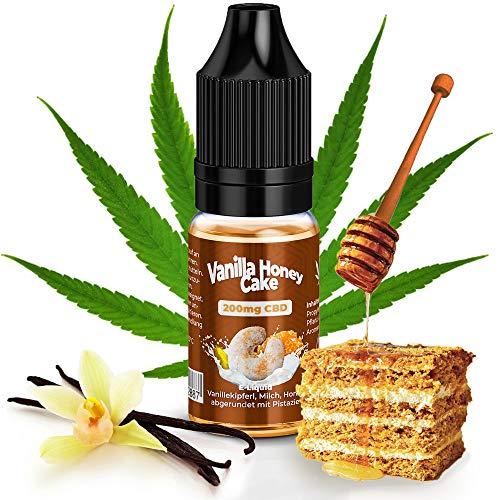 CBD Liquid 200mg von KDM Liquids® Geschmack Vanilla Honey Cake mit Zertifiziertes CBD Base mit Reinheit von 99,5% - 10ml Cannabis E-Liquid ohne Nikotin und THC für E-Zigarette Shake & Vape