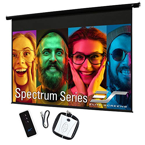 """Elite Screens 128"""" Spectrum Electric Motorized Projector Screen with Multi Aspect Ratio Function Diag 16:10 & 124-inch Diag 16:9, Home Theater 8K/4K Ultra HD Ready Projection"""