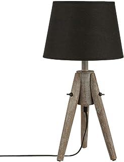 Lampe à poser - Trépied en bois effet cérusé et abat jour coloris NOIR