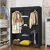 SONGMICS Kleiderschrank, Garderobenschrank mit Gitterablagen aus Eisen, Stoffschrank mit Tür und Kleiderstangen, Aufbewahrungsschrank, Vliesstoff, fürs Schlafzimmer, schwarz RYM34BK - 6