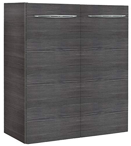 FACKELMANN Mini-Waschtischunterschrank VADEA/Gedämpfte Scharniere/Maße (B x H x T): ca. 52 x 60 x 24 cm/Schrank fürs kleine Bad und Gäste-WC mit 2 Türen/Korpus: Schwarz/Front: Schwarz