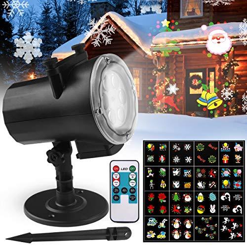 Projecteur LED Extérieur et Intérieur, FOCHEA IP65 Projecteur de Lumière avec 16 Diapos de Fêtes et Télécommande, Images Claires et Lumineuses pour Halloween/Noël/Anniversaire/Mariage/Soirée