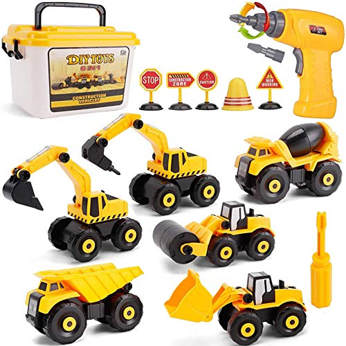 STAY GENT Konstruktion Zerlegen Bagger Spielzeugmit Elektrischer Bohrmaschine, STEM Baustellenfahrzeuge Kinder, Pädagogische Lerngeschenke für Jungen und Mädchen ab 3 Jahren