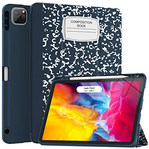 Soke Case for New iPad Pro 11 Inch 2020 & 2018 with Pencil Holder - Lightweight Smart Soft Cover [Supports Apple Pencil 2 Wireless Charging + Auto Wake/Sleep], Book Navy