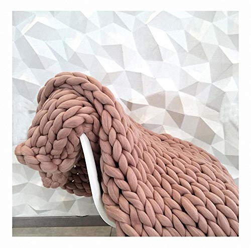 Miarui Handgemaakte gebreide knuffeldeken, handgemaakte chunky, super grote handgeweven deken, grof gebreide wollen deken, als sprei, voor huisdier, bed of bank