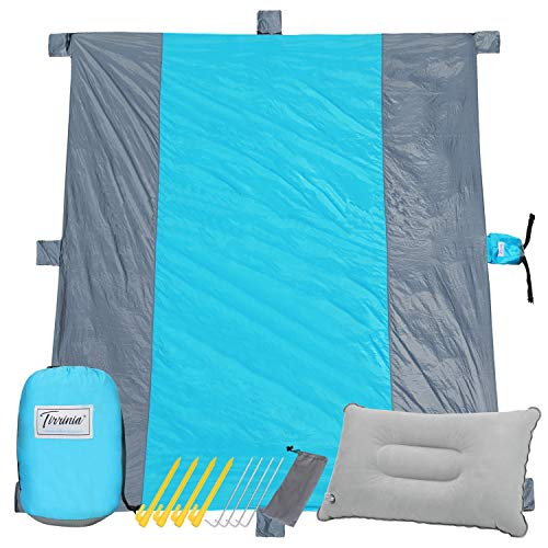 Sandfree Beach Blanket, Extra Large 9' X 10' for 7 Adults, Portable & Foldable Waterproof Picnic Mat Set With 8 Stakes, 7 Sand Pockets & 1 Inflatable Pillow for Travel, Camping and Outdoor Festival