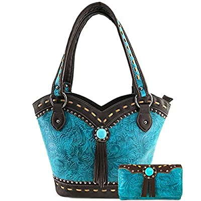 Zelris Turquoise Concho Floral Women Conceal Carry Bucket Tote Purse Wallet Set (Turquoise)