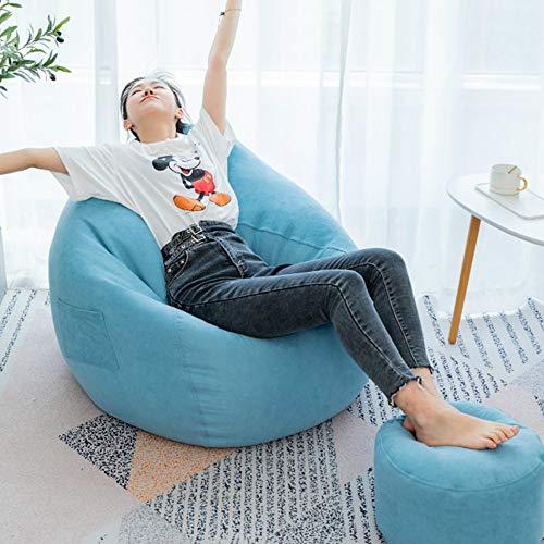 Bean Bag Chair, Lavabile in Lavatrice Grande Formato Sofà E Giant Lounger Mobili per Bambini, Ragazzi E Adulti, Multi-Colore Opzionale (Senza Filler),Blu