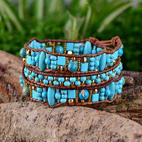 JYHW Boho Armband Kwaliteit Willekeurige Vorm Steen Zaad Kralen Lederen Wrap Armband Modieuze Vintage Kralen Manchet Armband