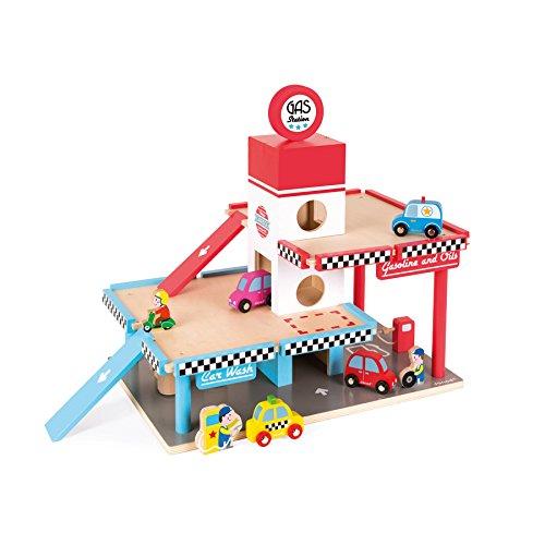 Janod - Estación de servicio Garaje de madera (J05718) , color/modelo surtido