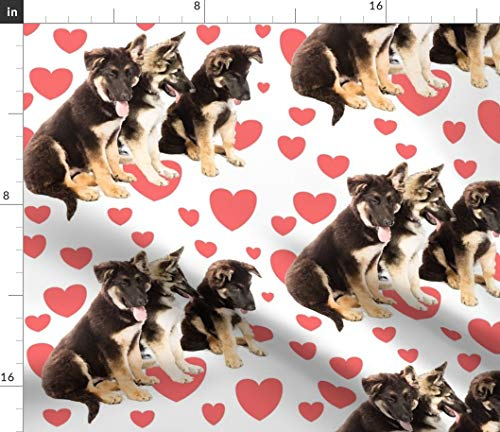 Spoonflower Fabric - Puppy Love Hearts German Shepherd Puppies Valentine Red Pet Portrait Printed on Modern Jersey Fabric by The Yard - Fashion Apparel Clothing with 4-Way Stretch