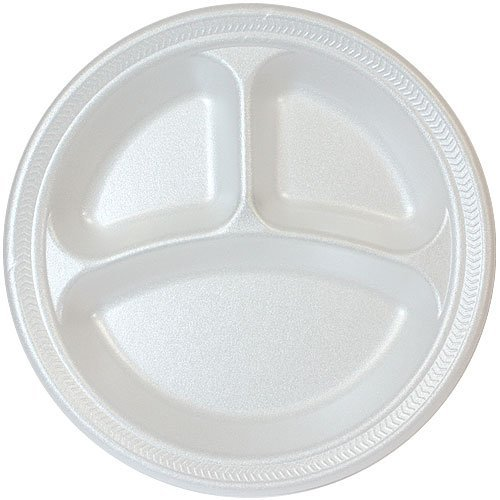 4 Compartment White Foam Polystyrene Disposable Plates 10 Inch Party Plate