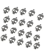 KESYOO 20pcs Halloween Pendant Charms Silver Skull Skeleton Charms Jewelry Making Accessories for Halloween Decorations