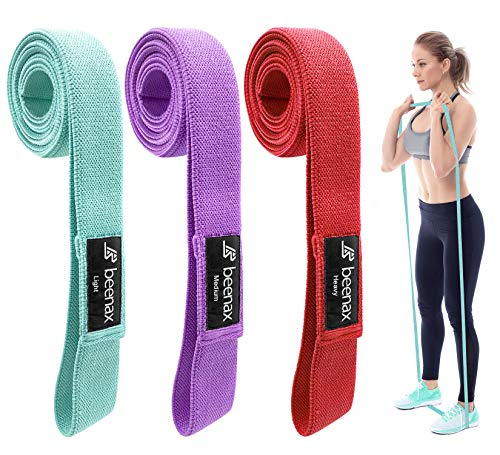 Beenax Fabric Long Resistance Bands (Set of 3) - Skin-Friendly Exercise Bands - 3 Resistance Levels for Pilates, Yoga, Rehab, Stretching, Fitness, Strength Training and Workout (Home & Gym & Office)