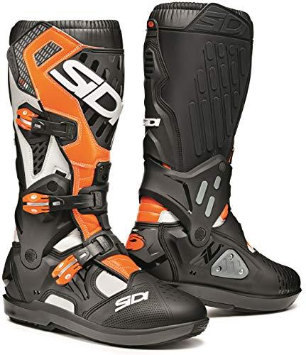 SIDI Atojo Srs SID-ATJ - Botas de moto, para hombre, talla 42 EU, color blanco, negro y naranja fluorescente