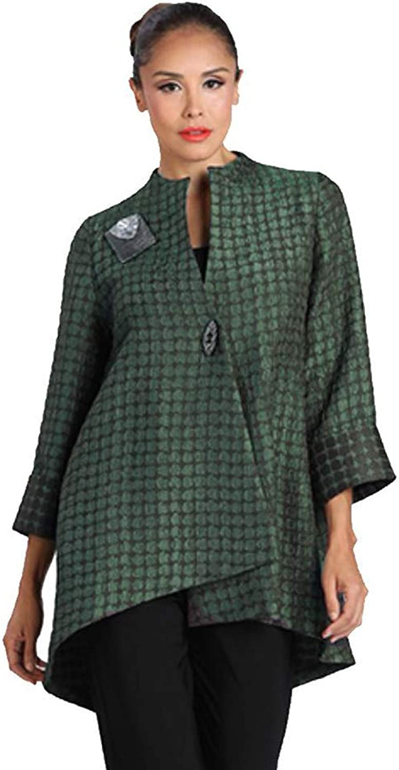 IC Collection Two Tone Long HighLow Asymmetric Jacket in Green  2082J